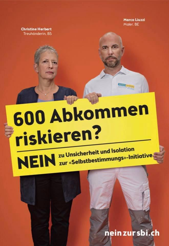 Berner Persönlichkeiten engagieren sich gegen die Selbstbestimmungs-Initiative