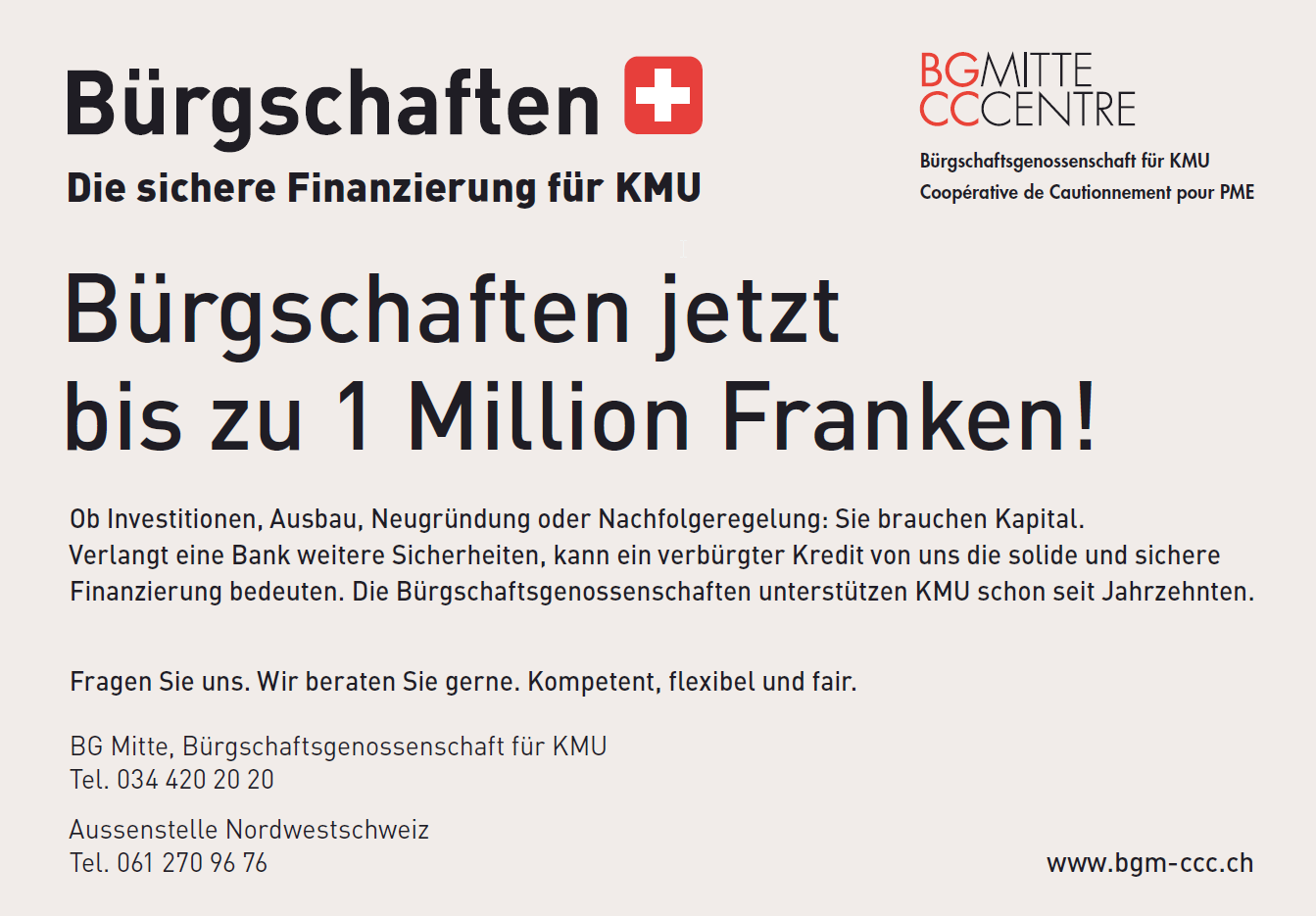 Bürgschaften für KMU jetzt bis zu 1 Million Franken
