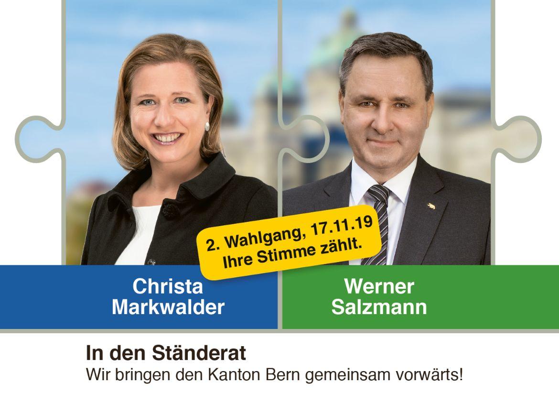 2. Wahlgang Ständerat: Zweierticket Markwalder/Salzmann wählen!
